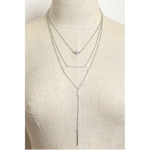 Jewelry - Silver Triple Layer Stone Pearl Design Necklace